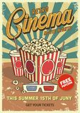 Vintage cinema poster. With popcorn cola glasses. Vector illustration Royalty Free Stock Photos