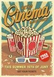 Vintage cinema poster. With popcorn cola glasses. Vector illustration Vector Illustration