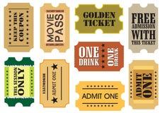 Vintage cinema tickets. Set of Vintage cinema tickets, vector illustration Royalty Free Stock Image