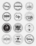 12 vintage circle badges collection Stock Image