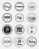 12 vintage circle badges collection. Circle badges design elements,vintage sign,design template,label stock illustration
