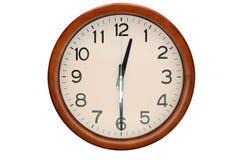 Vintage circle clock wooden frame isolate on white background Stock Photos