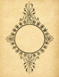 Vintage circle frame on old paper Stock Photography
