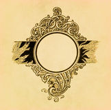 Vintage circle frame on old paper Stock Images