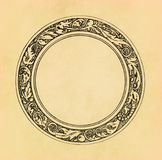 Vintage circle frame on old paper Royalty Free Stock Photos
