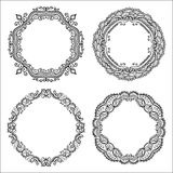 Vintage circle frames. Coloring book pages for kids and adults. Hand drawn abstract design. Vintage vector circle frames. Coloring book pages for kids and Stock Photo