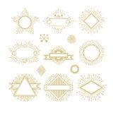 Vintage circle sunburst line emblems, badges, labels, logos with sunrise frame vector set. Royalty Free Stock Images