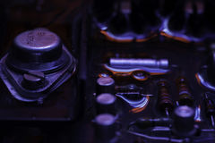 Vintage circuit board with dark red and blue reflection Stock Photos