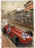 Vintage circuit with racing cars. Artistic illustration on canvas of a scene with Grand Prix circuit in the early twentieth century stock illustration