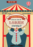 Vintage circus birthday invitation Stock Photos