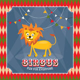 Vintage circus card with cute funny lion Royalty Free Stock Image