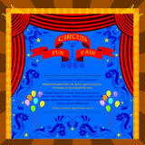 Vintage Circus Cartoon Poster Invitation for Party Carnival   Stock Image