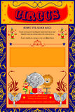 Vintage Circus Cartoon Poster Invitation for Party Carnival   Royalty Free Stock Image