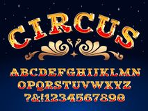 Free Vintage Circus Font. Victorian Carnival Headline Signage. Typeface Steampunk Alphabet Sign Vector Illustration Royalty Free Stock Images - 146171019