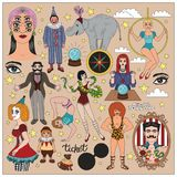 Vintage circus illustrations collection. Stock Images