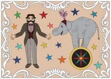 Vintage circus illustrations collection. Royalty Free Stock Photos