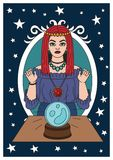 Vintage circus illustrations collection. Flash tattoo. Circus perfomer. Psychic, fortune teller. Magic ball Fantasy Royalty Free Stock Photography