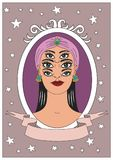 Vintage circus illustrations collection. Flash tattoo. Circus perfomer. Psychic, fortune teller Royalty Free Stock Images