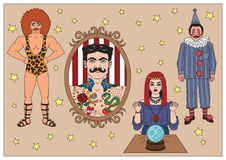 Vintage circus illustrations collection. Flash tattoo. Circus perfomers. Strong man, tattooed man, psychic, fortune teller clown Stock Photography