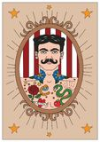 Vintage circus illustrations collection. Flash tattoo. Circus perfomers. Tattooed man Stock Photography