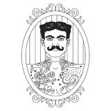 Vintage circus illustrations collection. Lineart illustrations for adult coloring book. Circus perfomers. Tattooed man Stock Photo