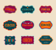 Vintage Circus labels set Stock Photography