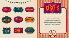 Vintage Circus labels set Stock Images