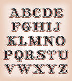 Vintage Circus And Western ABC Font. Illustration of a set of retro circus design abc typefont, with ornament on vintage and grunge background vector illustration