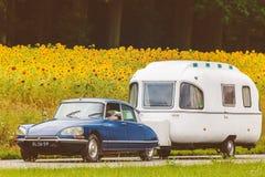 Vintage Citroen DS delante de un campo con los girasoles florecientes Imagenes de archivo