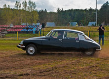 Classic French car Citroen DS during speed test Royalty Free Stock Photos