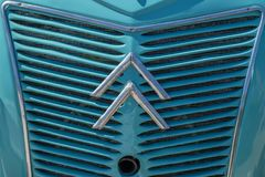 Vintage Citroen logo. At the grill of the car Stock Image