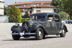 Vintage citroen. Old vintage citroen traction avant driving on the road Royalty Free Stock Photo