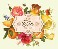 Vintage citrus banner. Vector vintage citrus tea banner with hibiscus and honey.Design for tea, juice,natural cosmetics,baking,candy and sweets with citrus royalty free illustration