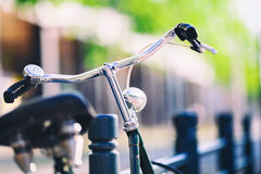 Vintage city bike colorful retro light and handlebar Stock Photos