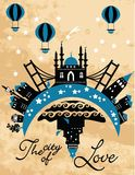 Vintage city card in vector Stock Images