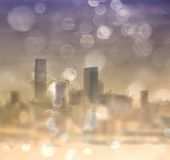 Vintage city skyline with bokeh Royalty Free Stock Photography