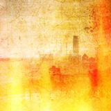Vintage city skyline in red and yellow tones. Fire effect. Vintage city skyline in red and yellow tones. Fire digital effect Stock Photos