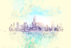 Vintage City Skyscraper View Cityscape Background. Skyline with Copy Space Retro Style Design Card Vector Illustration Royalty Free Stock Photos