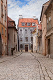 Vintage city street with paving stone Stock Photos