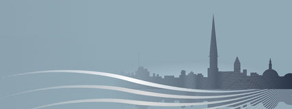 Vintage cityscape banner Stock Images