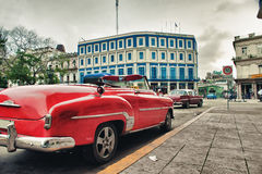 Vintage classic american car parked in a street of Old Havana Stock Image