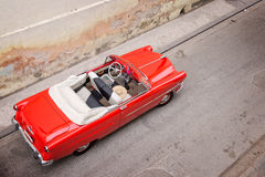 Vintage classic american car, view from above in Havana Royalty Free Stock Photography