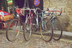 Vintage classic bicycles. Bordeaux, France - October 30 2015 : Vintage classic bicycles are for sell at antique shop in Bordeaux, France Stock Images