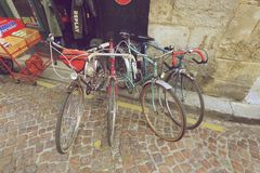 Vintage classic bicycles. Bordeaux, France - October 30 2015 : Vintage classic bicycles are for sell at antique shop in Bordeaux, France Royalty Free Stock Photos