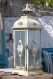 Vintage and classic big candle lantern at Tenedos Bozcaada Island by the Aegean Sea stock photo