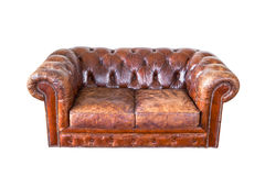 Vintage classic brown grunge leather chair sofa Stock Images