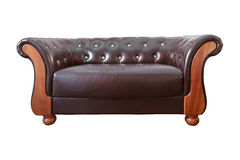 Vintage Classic Brown leather armchair on white backgro Royalty Free Stock Photos