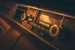 Vintage Classic Car Radio. In the Vehicle Dashboard. 80s Multimedia Technologies royalty free stock photo