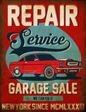 Vintage classic car repair service tee graphic design. Fashion style Stock Photos