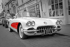 Vintage classic chevrolet corvette. Photo of an american vintage classic chevrolet c1 corvette convertible on the kent streets of whitstable taken 17th april Stock Photos